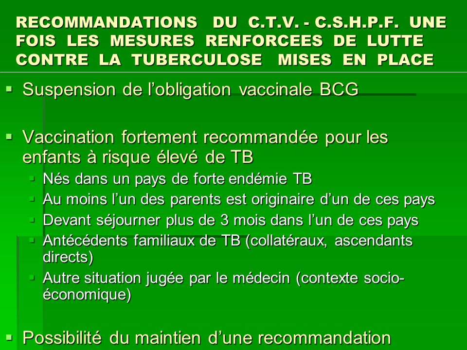 Suspension de l'obligation vaccinale BCG