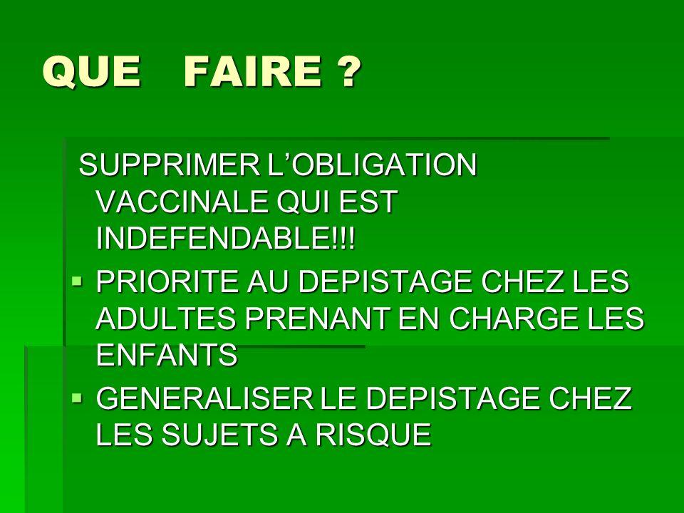 QUE FAIRE SUPPRIMER L'OBLIGATION VACCINALE QUI EST INDEFENDABLE!!!