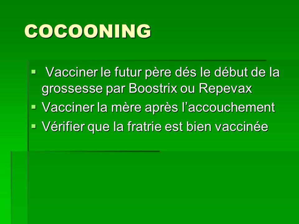 COCOONINGVacciner le futur père dés le début de la grossesse par Boostrix ou Repevax. Vacciner la mère après l'accouchement.
