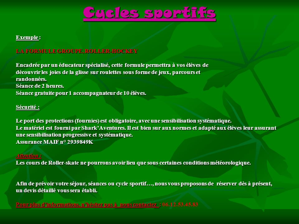 Cycles sportifs Exemple : LA FORMULE GROUPE, ROLLER-HOCKEY