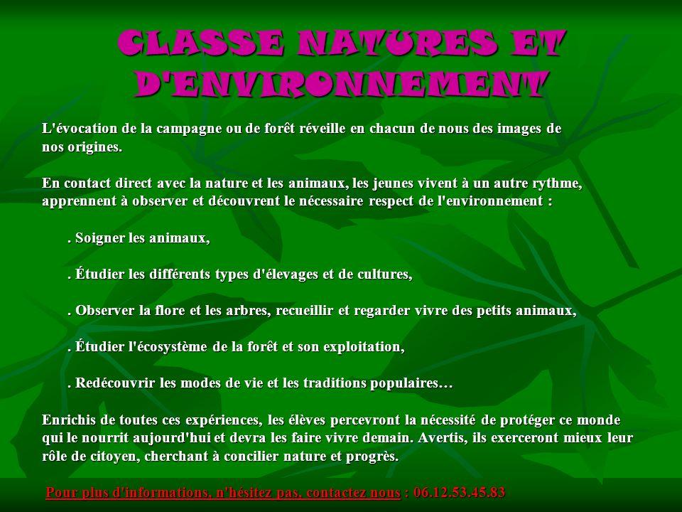 CLASSE NATURES ET D ENVIRONNEMENT