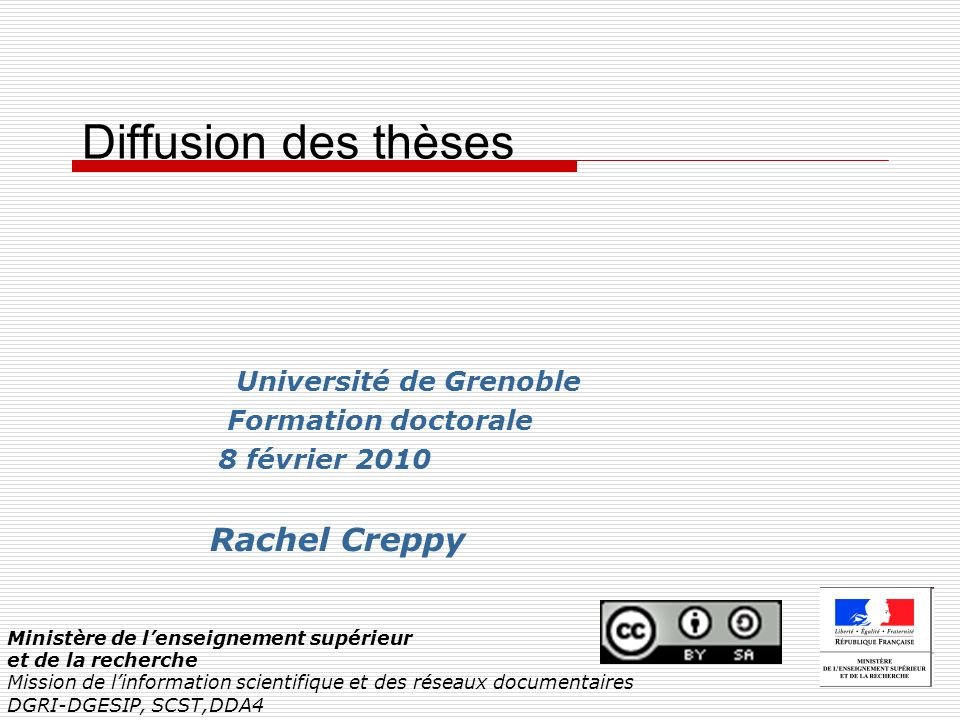 Diffusion des thèses Rachel Creppy Université de Grenoble