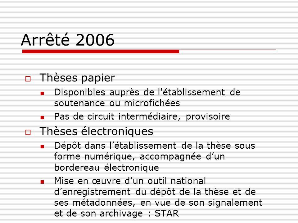 Arrêté 2006 Thèses papier Thèses électroniques