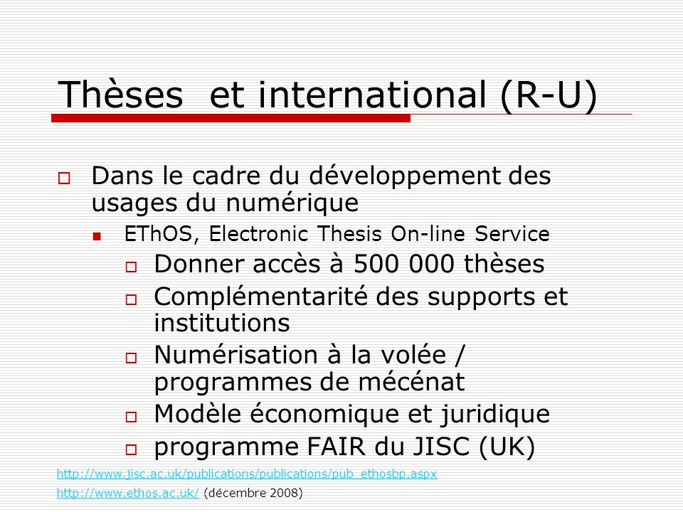 Thèses et international (R-U)‏