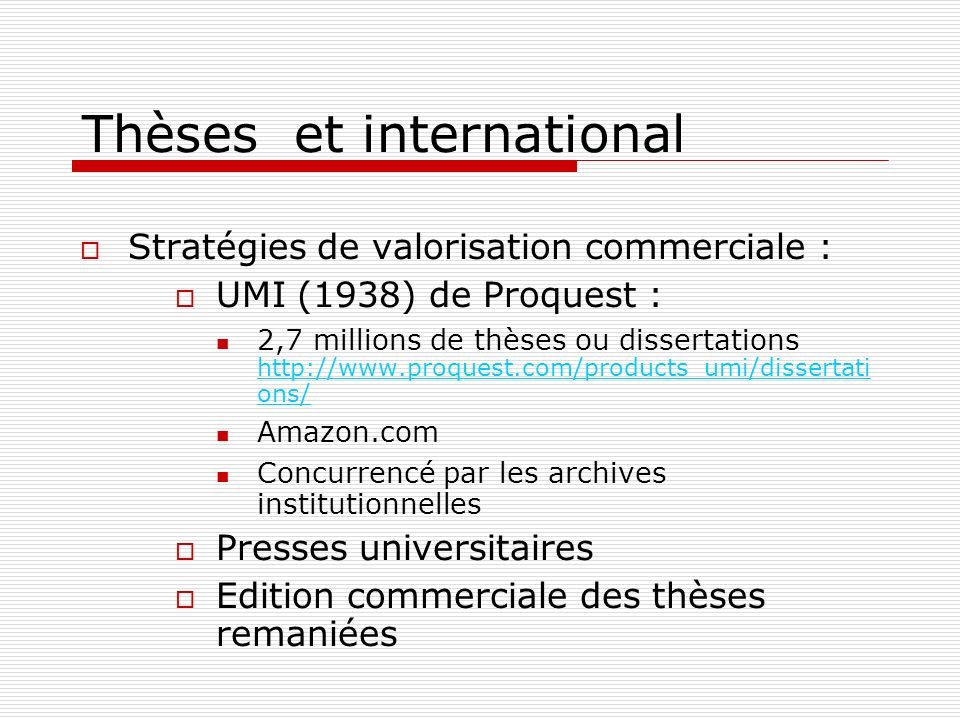 Thèses et international