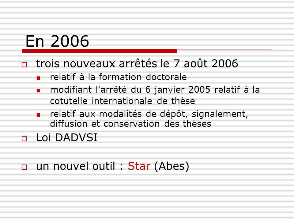 En 2006 trois nouveaux arrêtés le 7 août 2006 Loi DADVSI