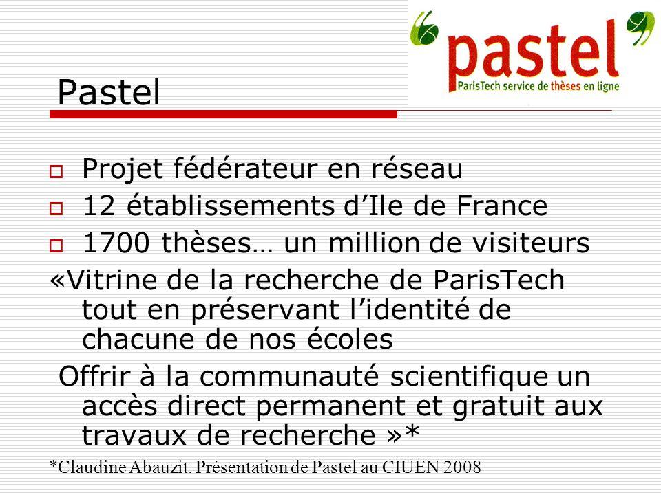 Pastel Projet fédérateur en réseau 12 établissements d'Ile de France