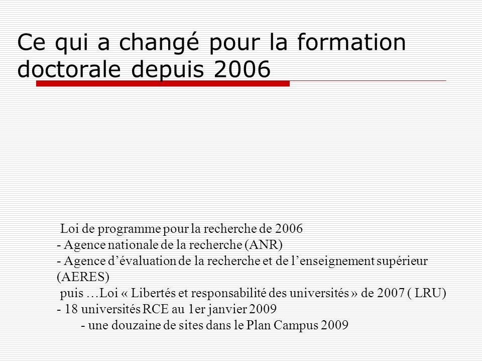 Ce qui a changé pour la formation doctorale depuis 2006