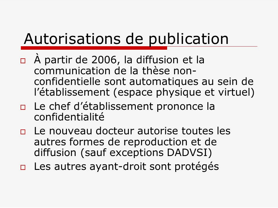 Autorisations de publication