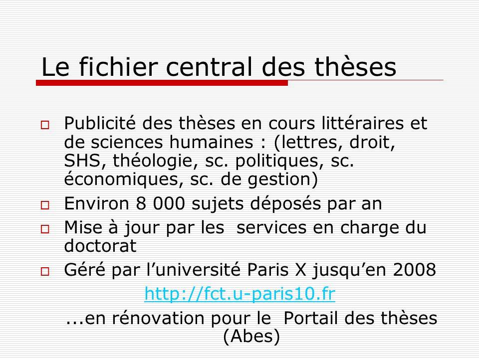 Le fichier central des thèses