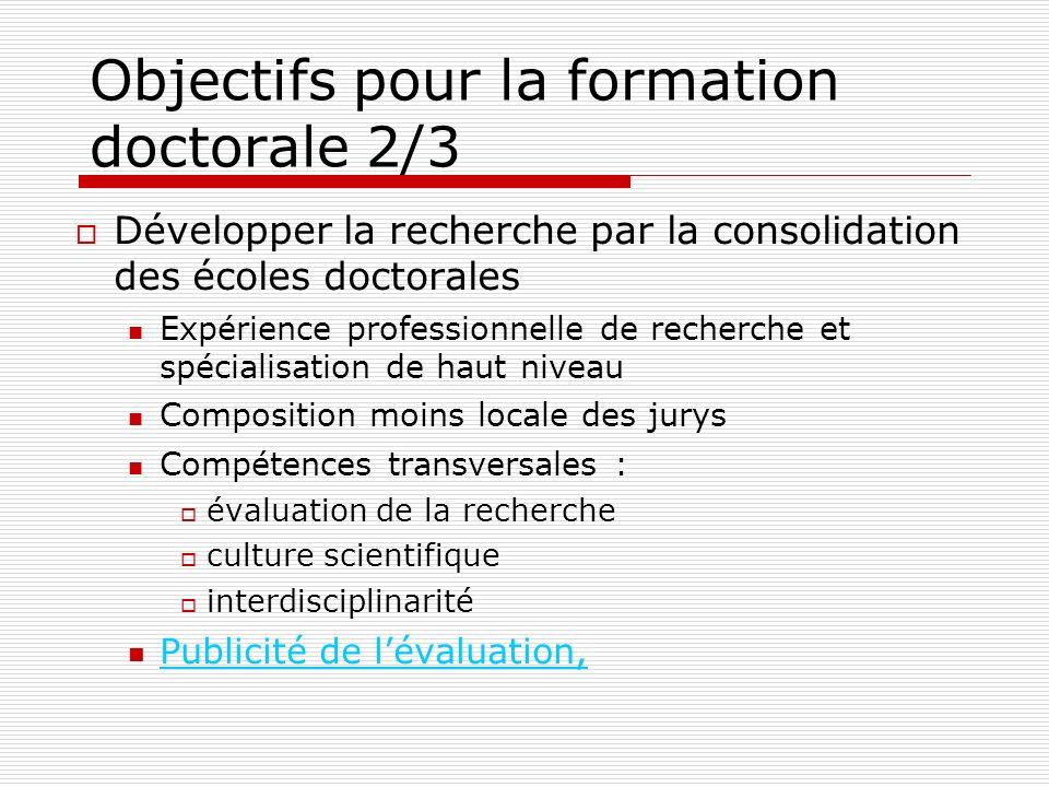 Objectifs pour la formation doctorale 2/3