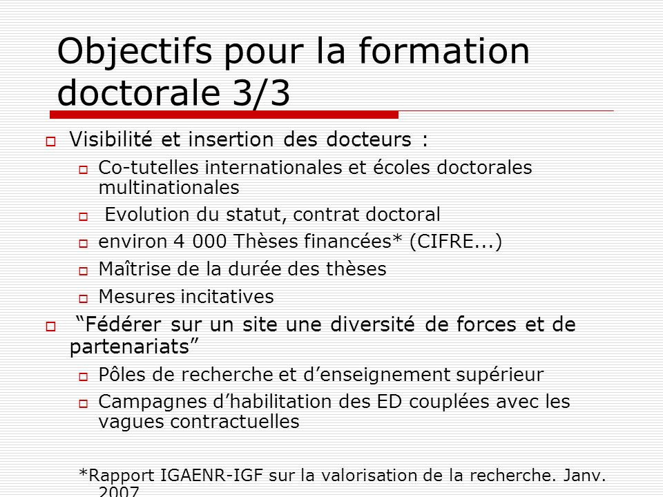 Objectifs pour la formation doctorale 3/3