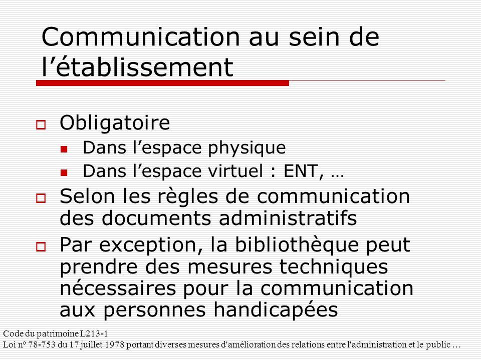 Communication au sein de l'établissement