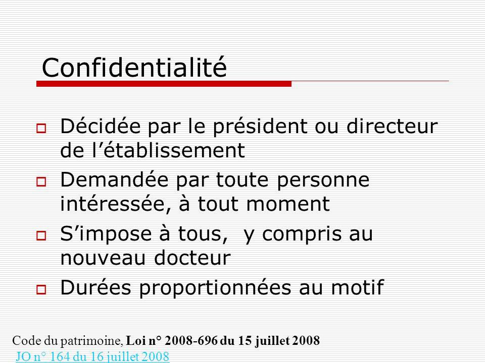 Confidentialité Décidée par le président ou directeur de l'établissement. Demandée par toute personne intéressée, à tout moment.