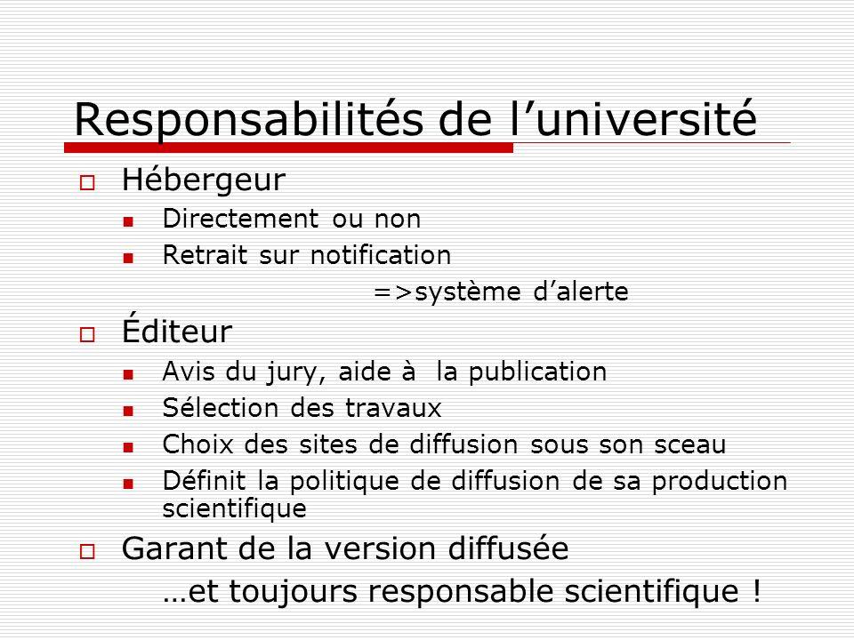 Responsabilités de l'université