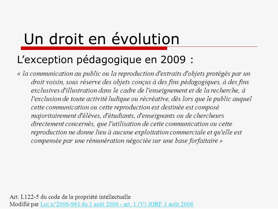 Un droit en évolution L'exception pédagogique en 2009 :