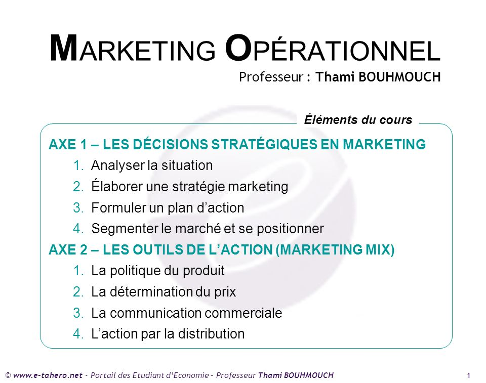MARKETING OPÉRATIONNEL Professeur : Thami BOUHMOUCH