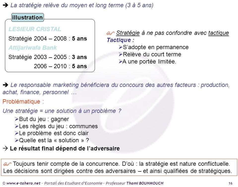  La stratégie relève du moyen et long terme (3 à 5 ans)