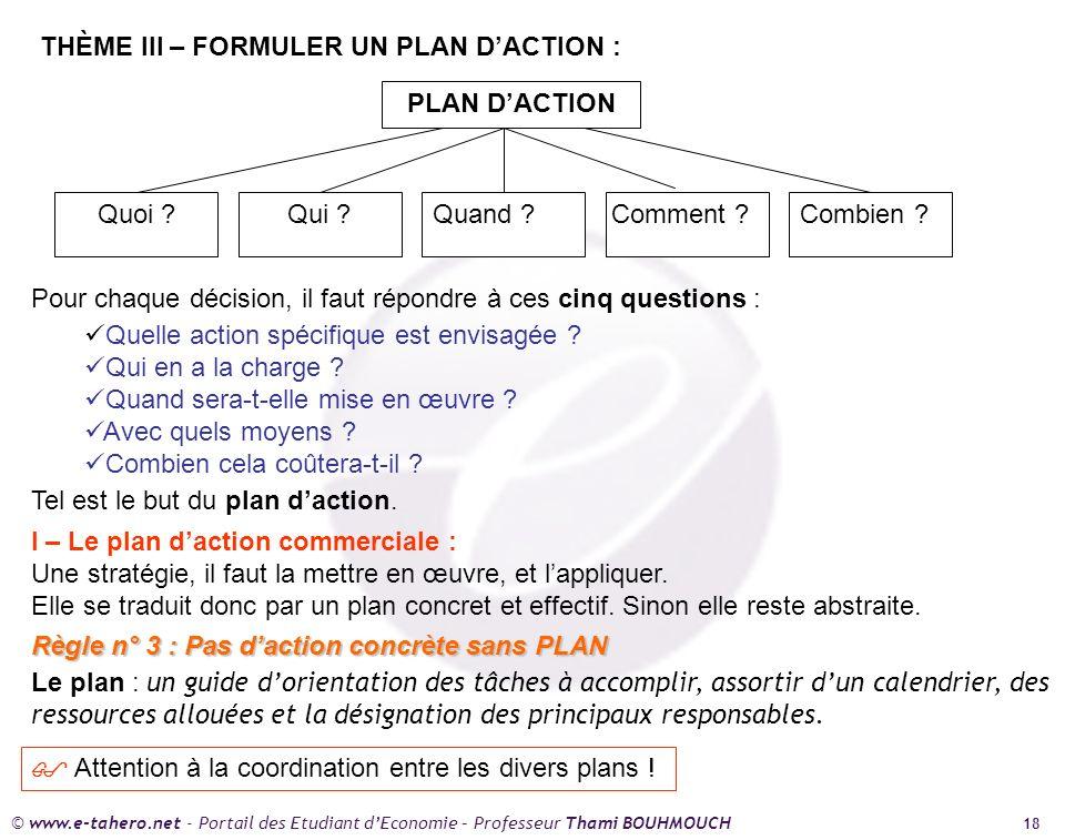 THÈME III – FORMULER UN PLAN D'ACTION :