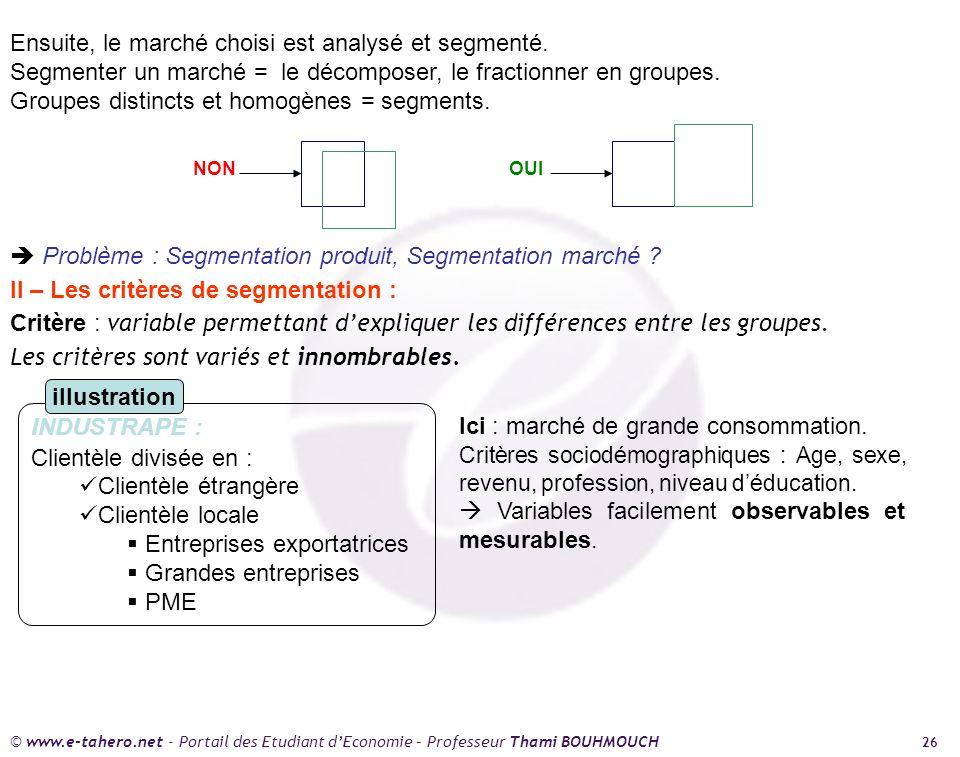 Ensuite, le marché choisi est analysé et segmenté.
