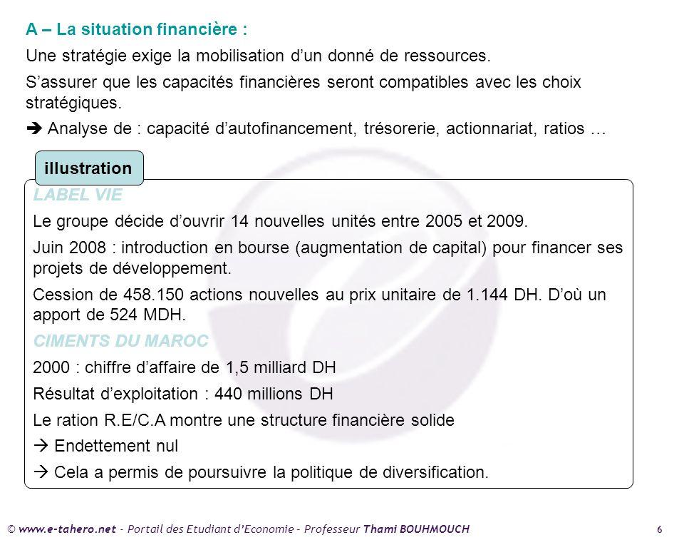 A – La situation financière :