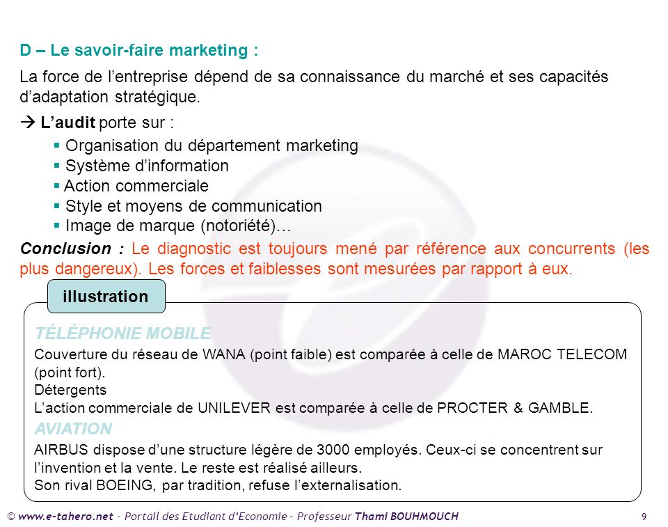 D – Le savoir-faire marketing :