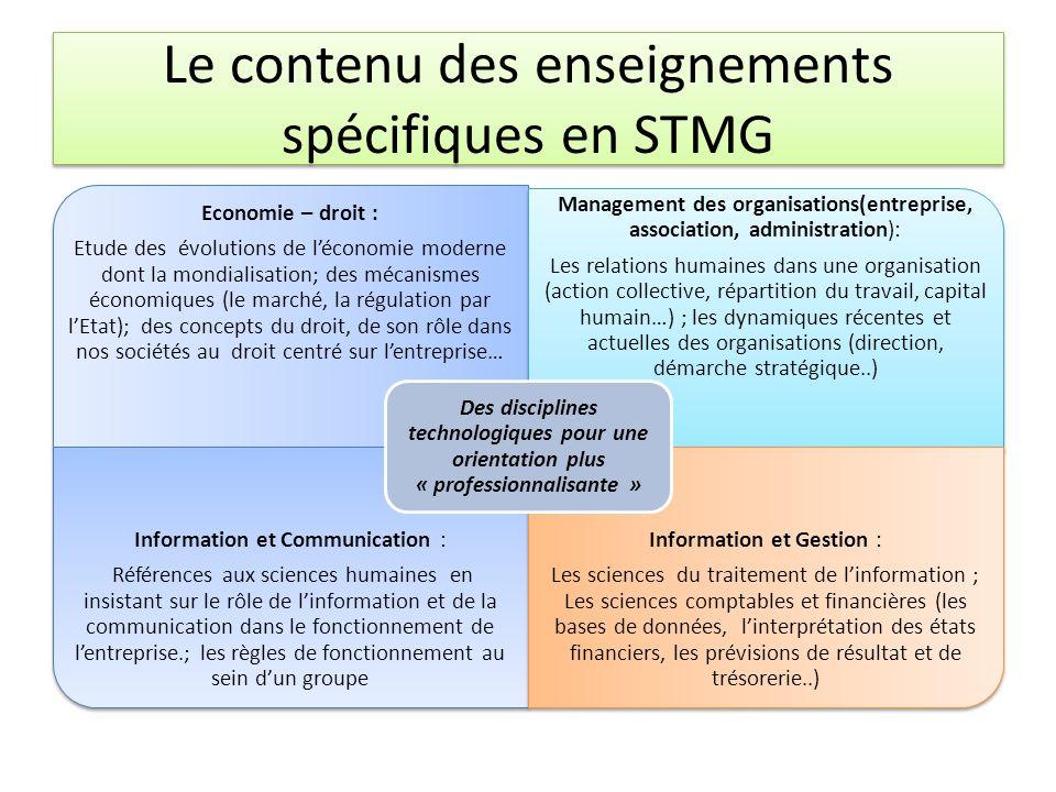 Le contenu des enseignements spécifiques en STMG