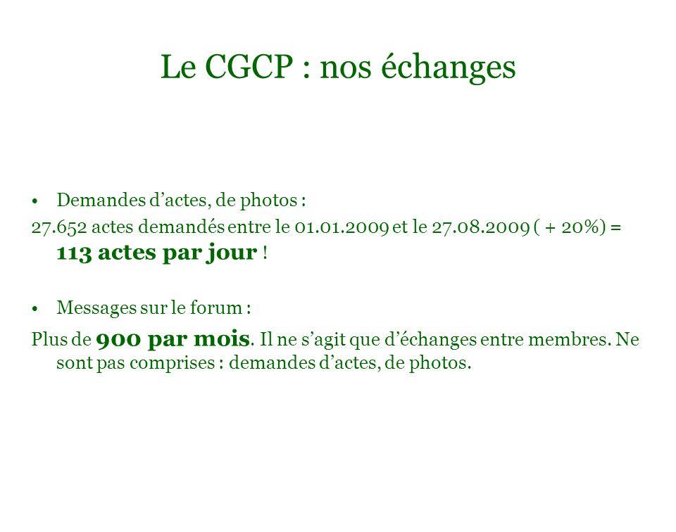 Le CGCP : nos échanges Demandes d'actes, de photos :