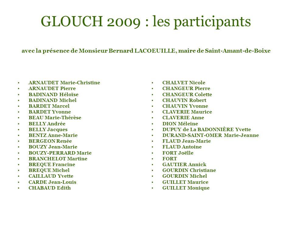 GLOUCH 2009 : les participants avec la présence de Monsieur Bernard LACOEUILLE, maire de Saint-Amant-de-Boixe