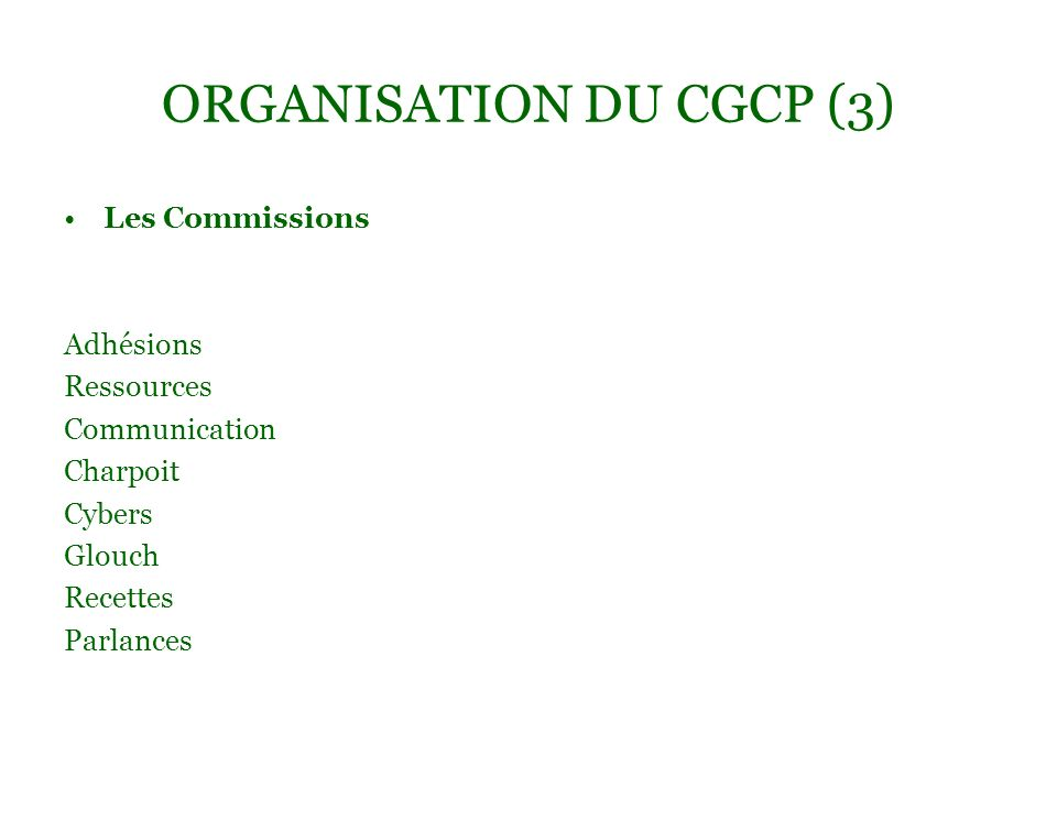 ORGANISATION DU CGCP (3)