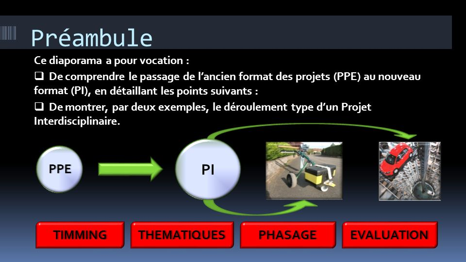 Préambule PI PPE TIMMING THEMATIQUES PHASAGE EVALUATION