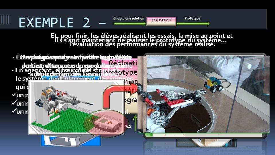 EXEMPLE 2 – Choix d'une solution. Prototype. REALISATION. Et, pour finir, les élèves réalisent les essais, la mise au point et.