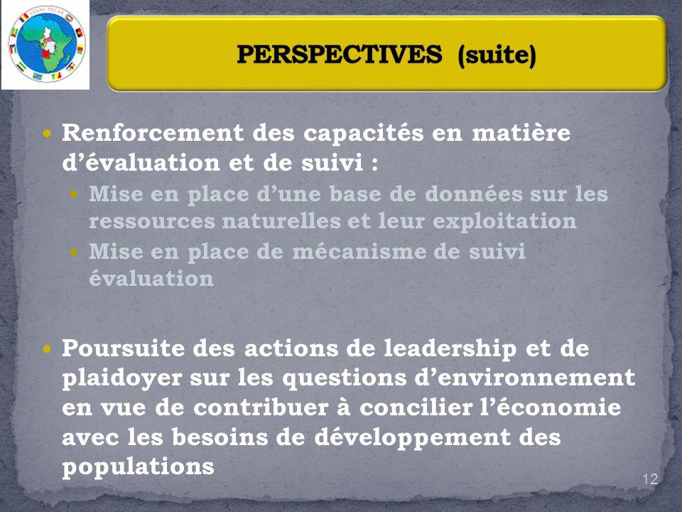 PERSPECTIVES (suite) Renforcement des capacités en matière d'évaluation et de suivi :