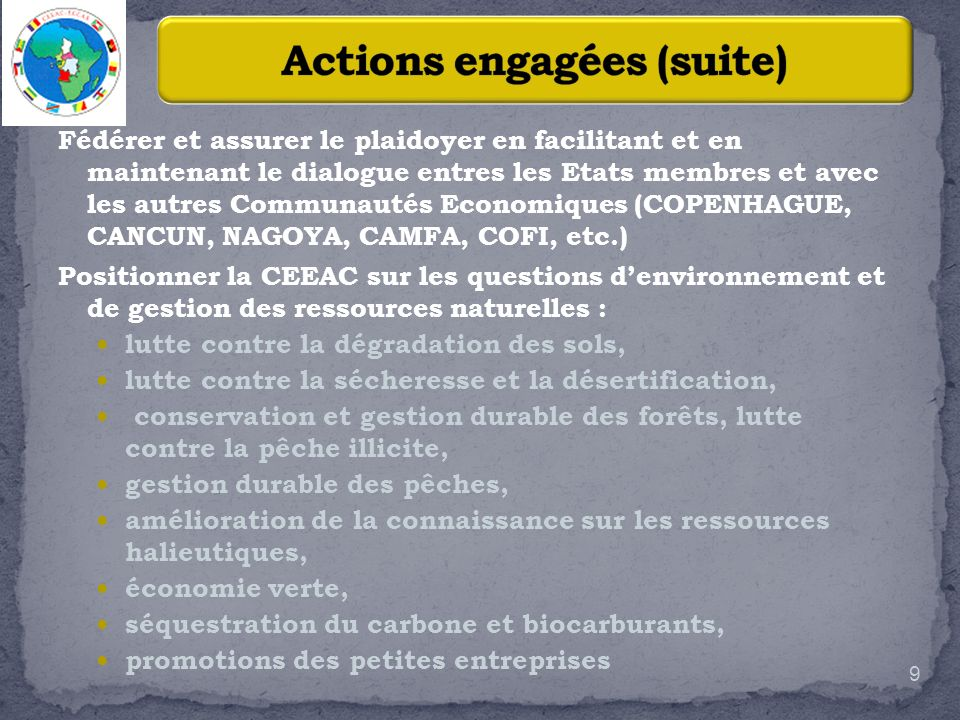 Actions engagées (suite)