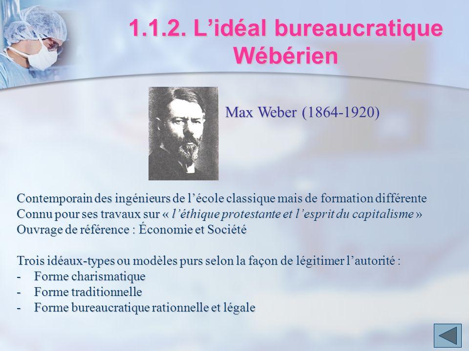 1.1.2. L'idéal bureaucratique Wébérien