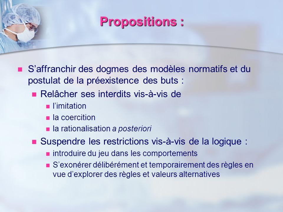 Propositions : S'affranchir des dogmes des modèles normatifs et du postulat de la préexistence des buts :