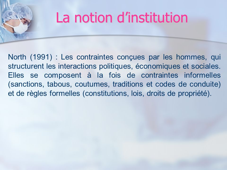 La notion d'institution
