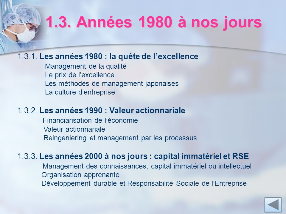1.3. Années 1980 à nos jours 1.3.1. Les années 1980 : la quête de l'excellence. Management de la qualité.