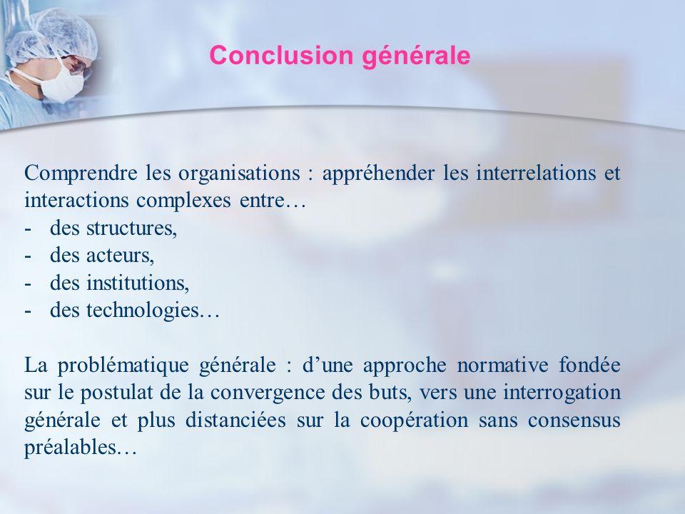 Conclusion générale Comprendre les organisations : appréhender les interrelations et interactions complexes entre…