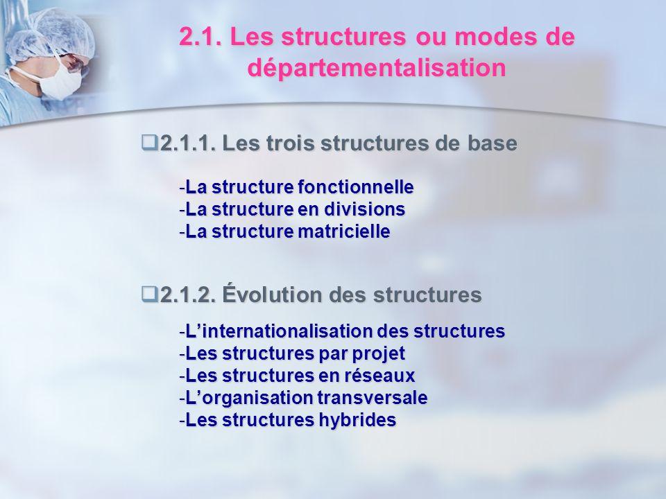 2.1. Les structures ou modes de départementalisation