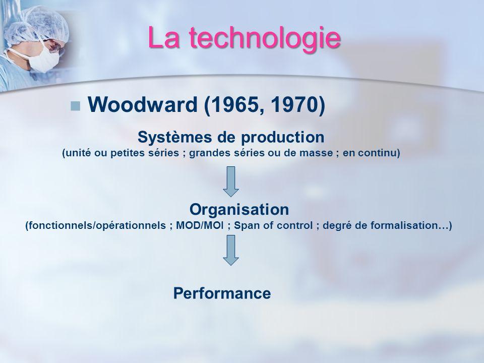 La technologie Woodward (1965, 1970) Systèmes de production