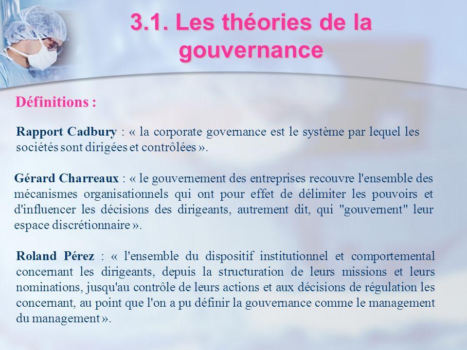 3.1. Les théories de la gouvernance