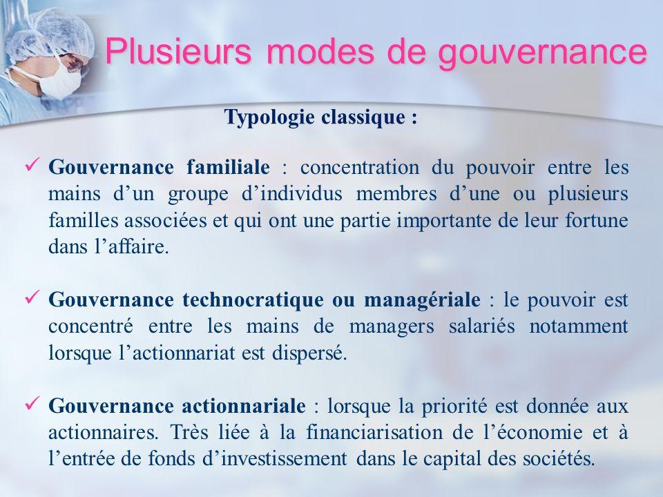 Plusieurs modes de gouvernance