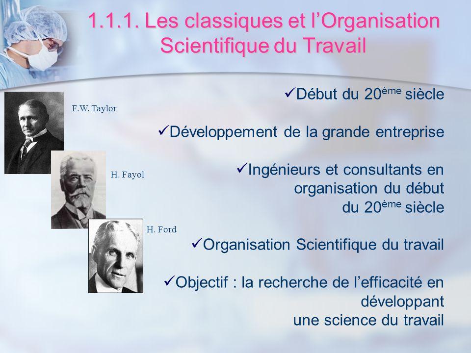 1.1.1. Les classiques et l'Organisation Scientifique du Travail
