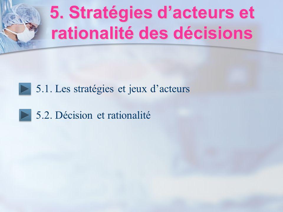 5. Stratégies d'acteurs et rationalité des décisions