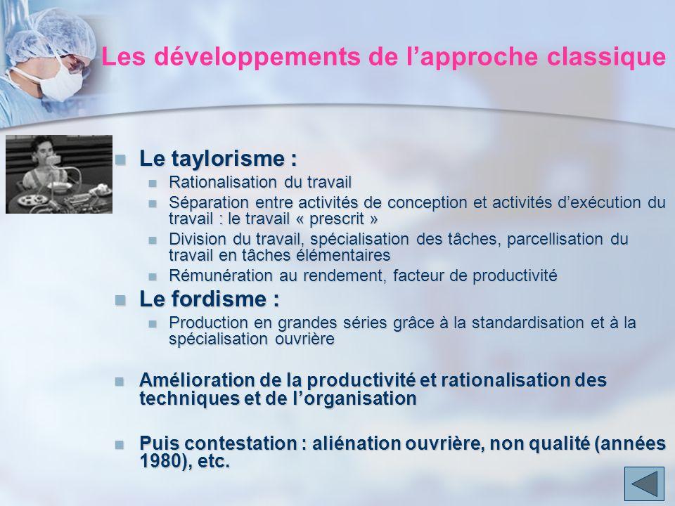 Les développements de l'approche classique
