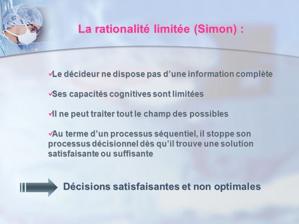 La rationalité limitée (Simon) :
