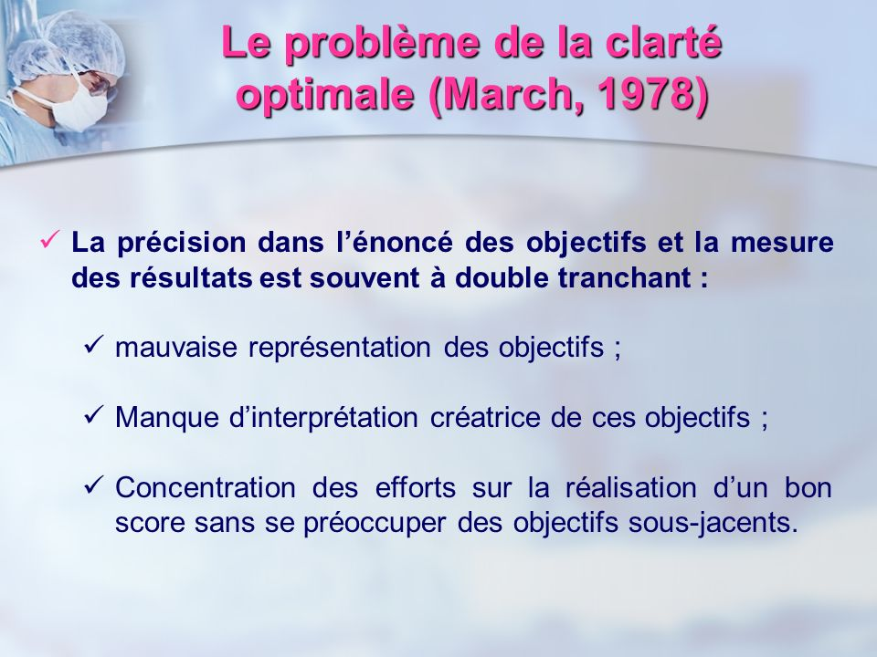 Le problème de la clarté optimale (March, 1978)