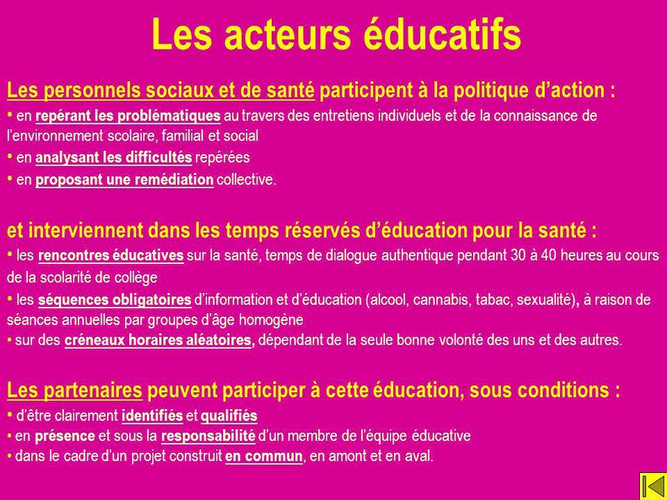 Les acteurs éducatifs Les personnels sociaux et de santé participent à la politique d'action :
