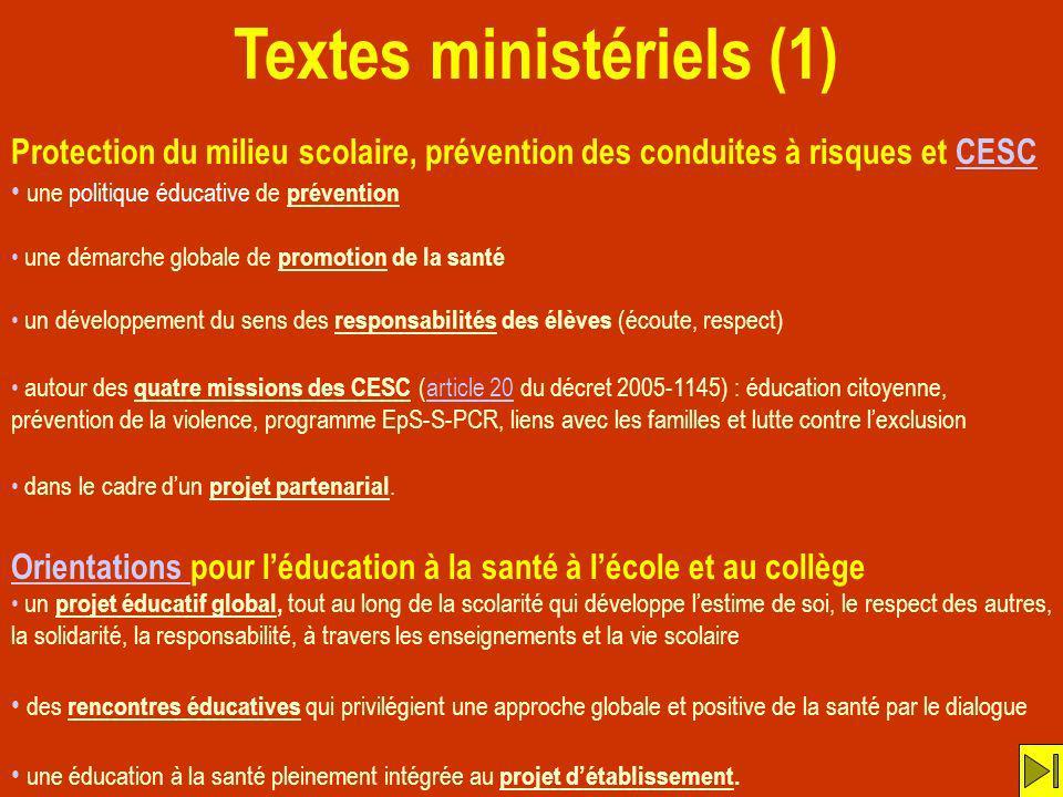 Textes ministériels (1)